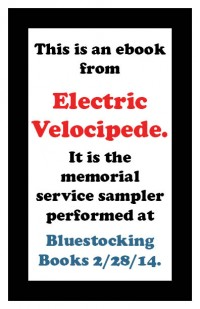 Electric Velocipede Bluestockings Memorial Sampler cover - click to view full size